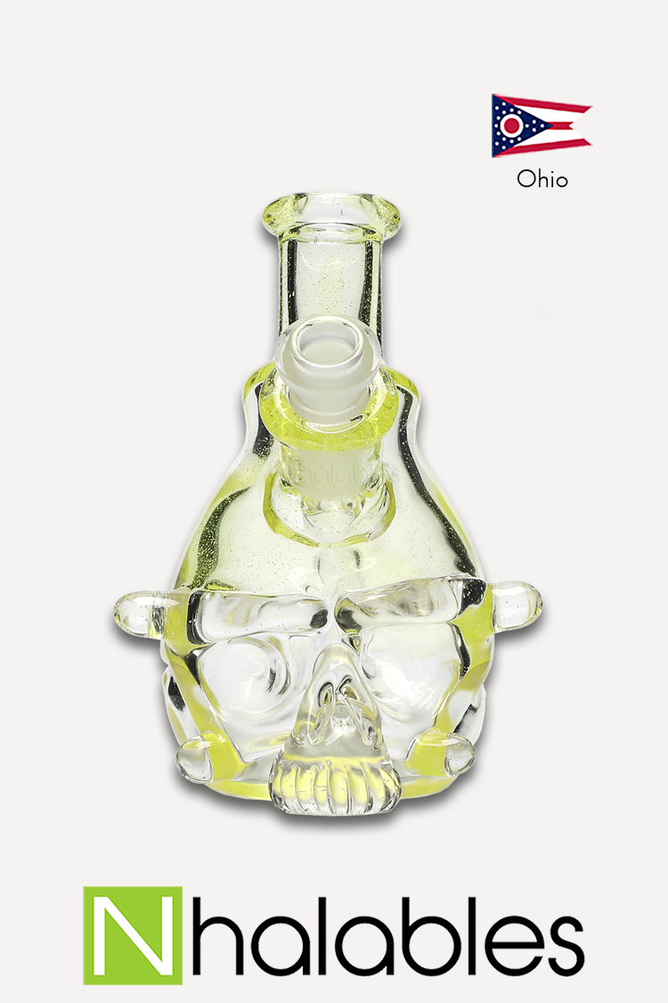 Nhalables Product Image for a Tuskum Glass (Ohio) sculpted UV reactive skull rig