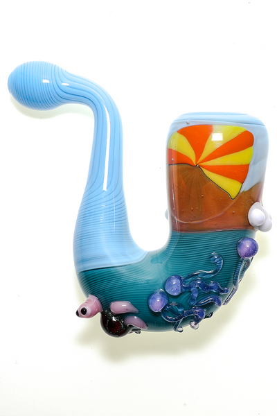 Nhalables Angle 3 Image for a Beach Scene Sherlock Handpipe by Missouri based JEM GLass (@Jemglass)
