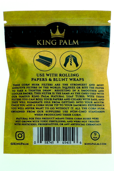 Nhalables Backside Product Image for a 5 pack of King Palm - Corn Husk Filter Tips