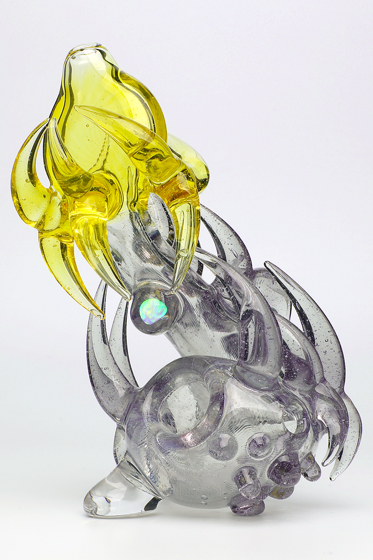 Nhalables CFL Color Shifting Image for a hand worked Parallax/Terps Neblock Sherlock by Ohio Based Artist Redbone Glass (Josh Anderson)