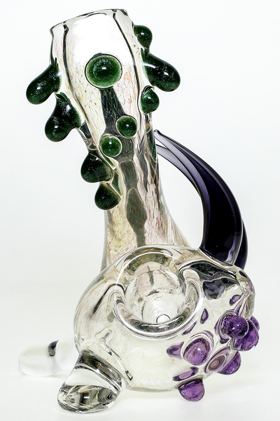 Nhalables Bowl Push View Image for a Green and Purple Frit Neblock by Ohio Based Redbone Glass (@redboneglass) Josh