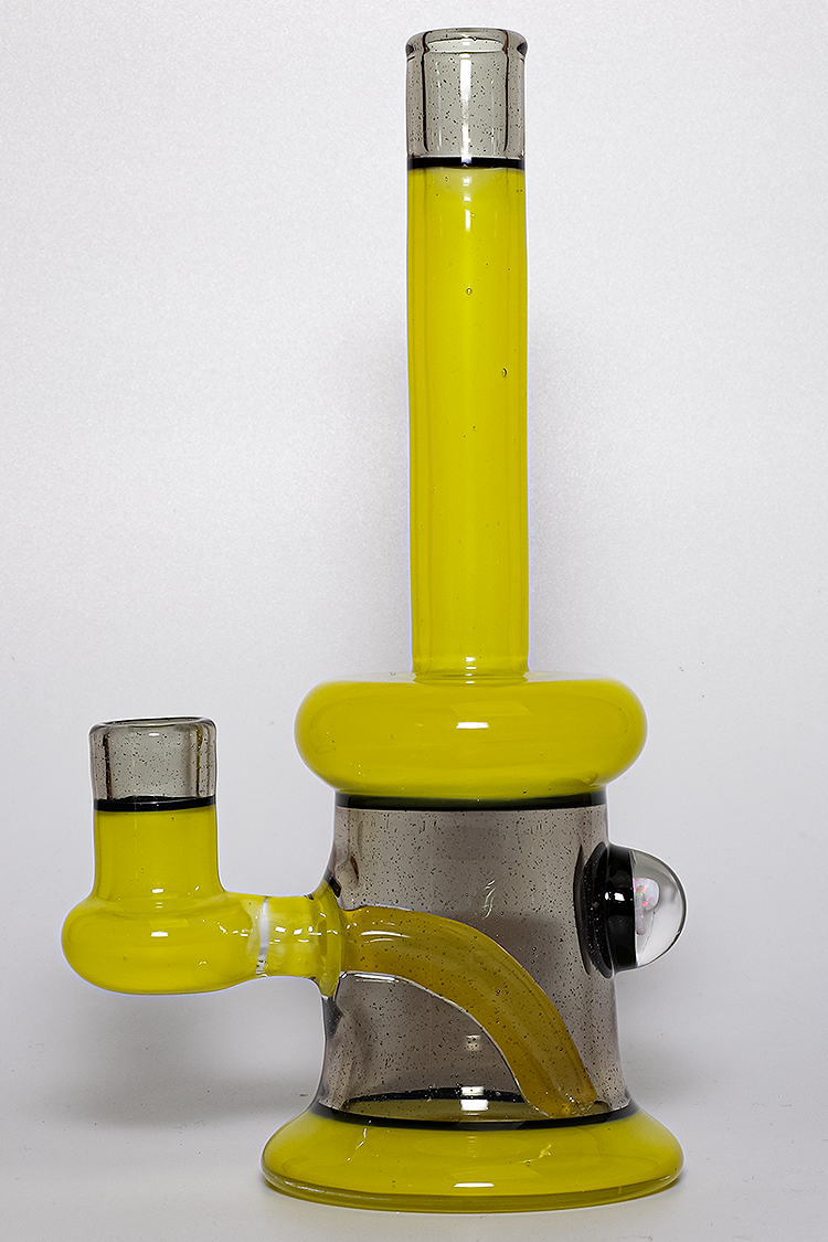 "Nhalables Product Image for a ""Tuskum Glass"" Chartreuse and Phaze colored 14mm Banger Hanger"