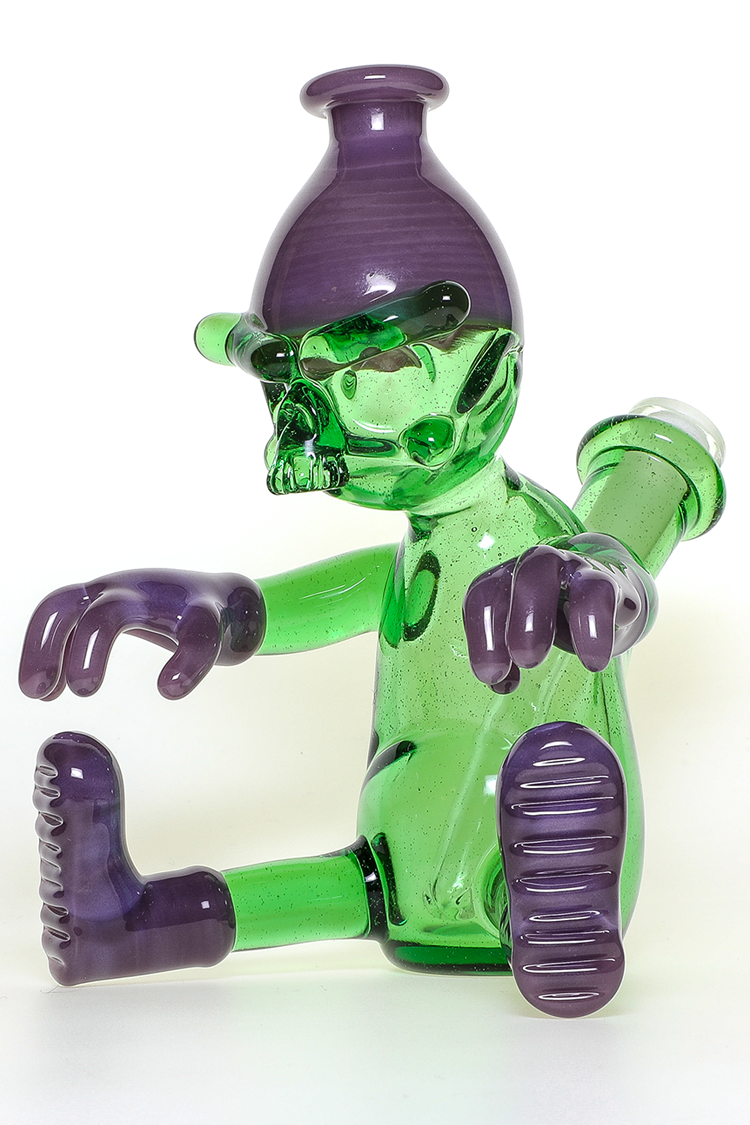 "Nhalables Right Side View Image for a ""Wild Berry and Reformulated Kryptonite"" Colored ""Worker"" Rig by Cleveland based Glassblower ""Tuskum Glass"""