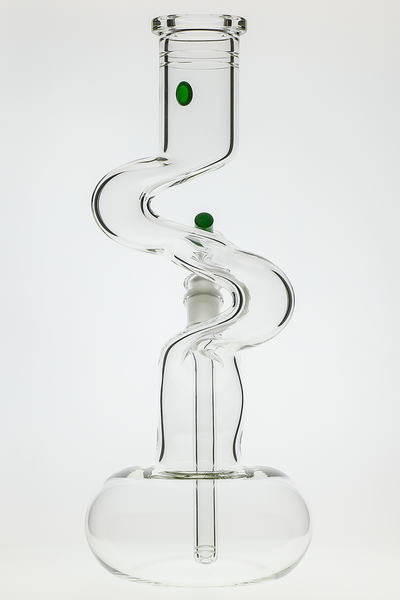 "Nhalables Actual Image showing a ""Green Stardust"" ""3-Kink 50 x 5 Waterpipe"" By Arizona based glassblowers ""Zombie Hand Studios"""