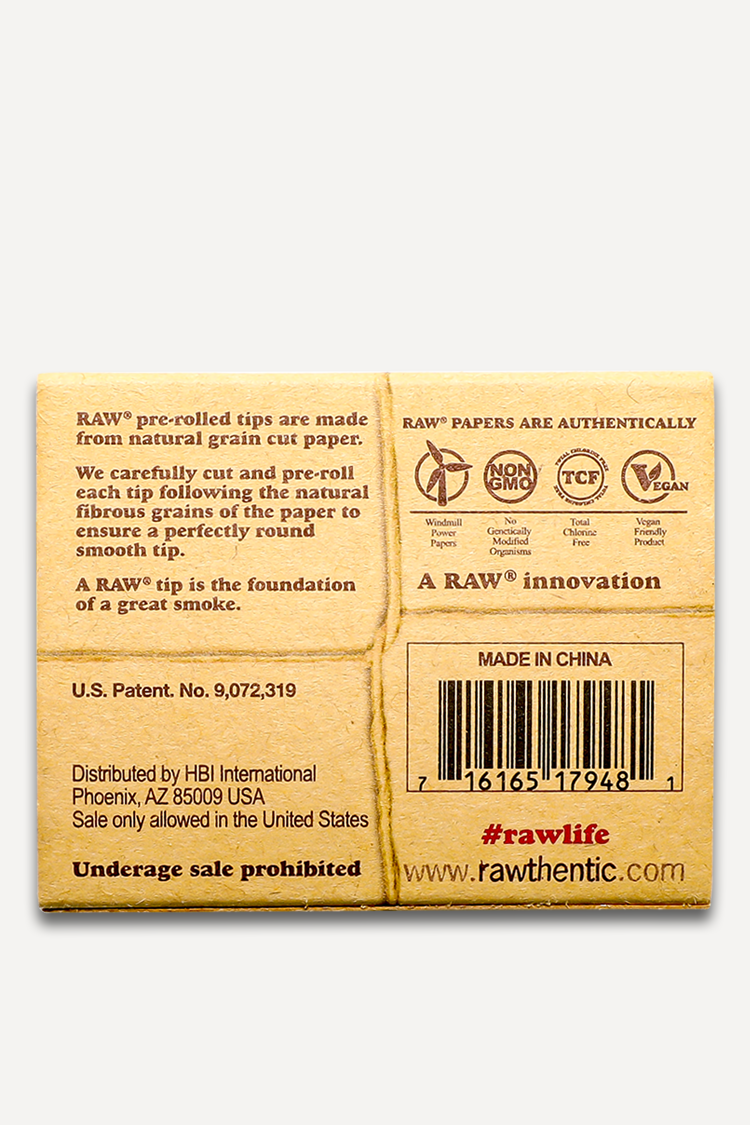 Nhalables Actual Image for the back of the box of Raw Pre-Rolled Rolling Tips