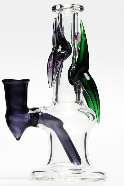Nhalables Side View Image for Purple and Green Dragon Slayer Oil Rig by Ohio based glassblower and artist Redbone Glass f