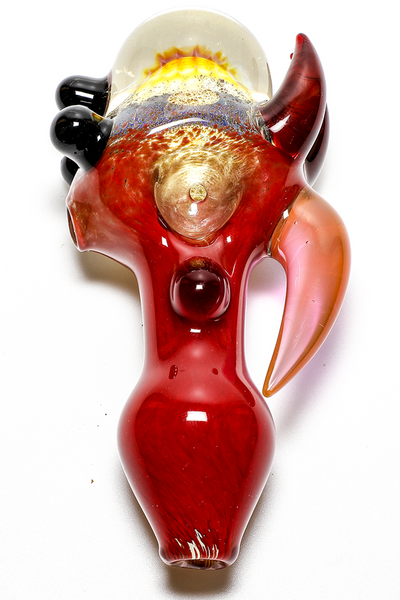 Nhalables Top Down Image for Catfish Glass (Ohio, Old Country Blew) Frit colored fumed Implosion with Hooks Hand Pipe