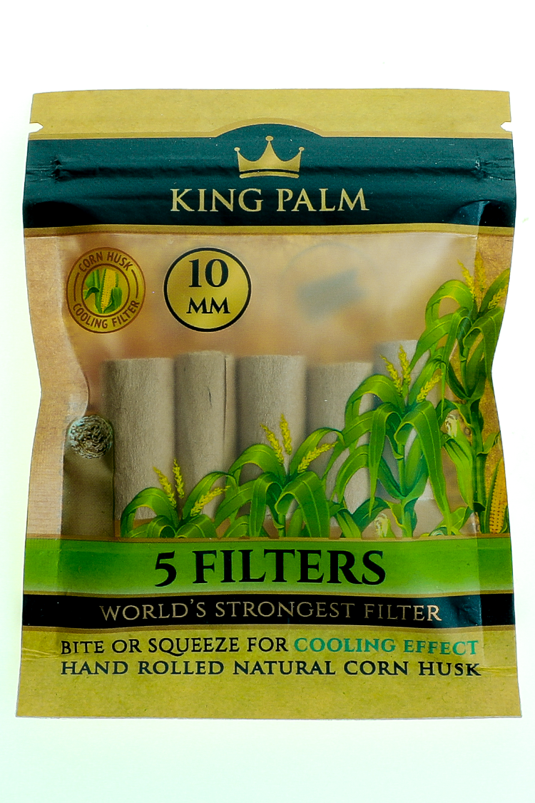 Nhalables actual Image for a 5 pack of 10mm wide King Palm - Corn Husk Filter Tips