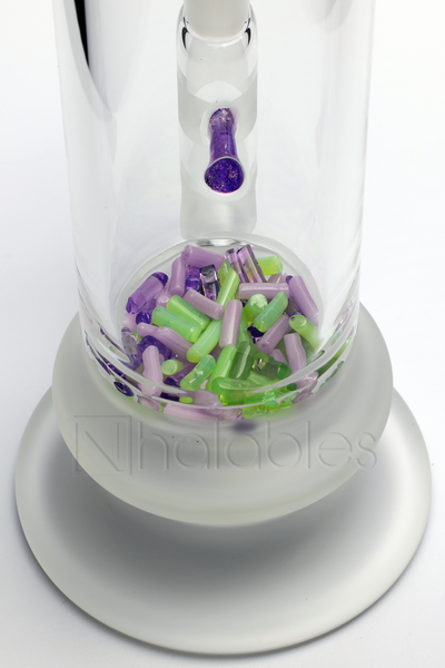 Percolator Shot of a Nhalables Product Image for a LQL Glass - Purple and Green Slyme Bent Neck Jimmie Disc Waterpipe