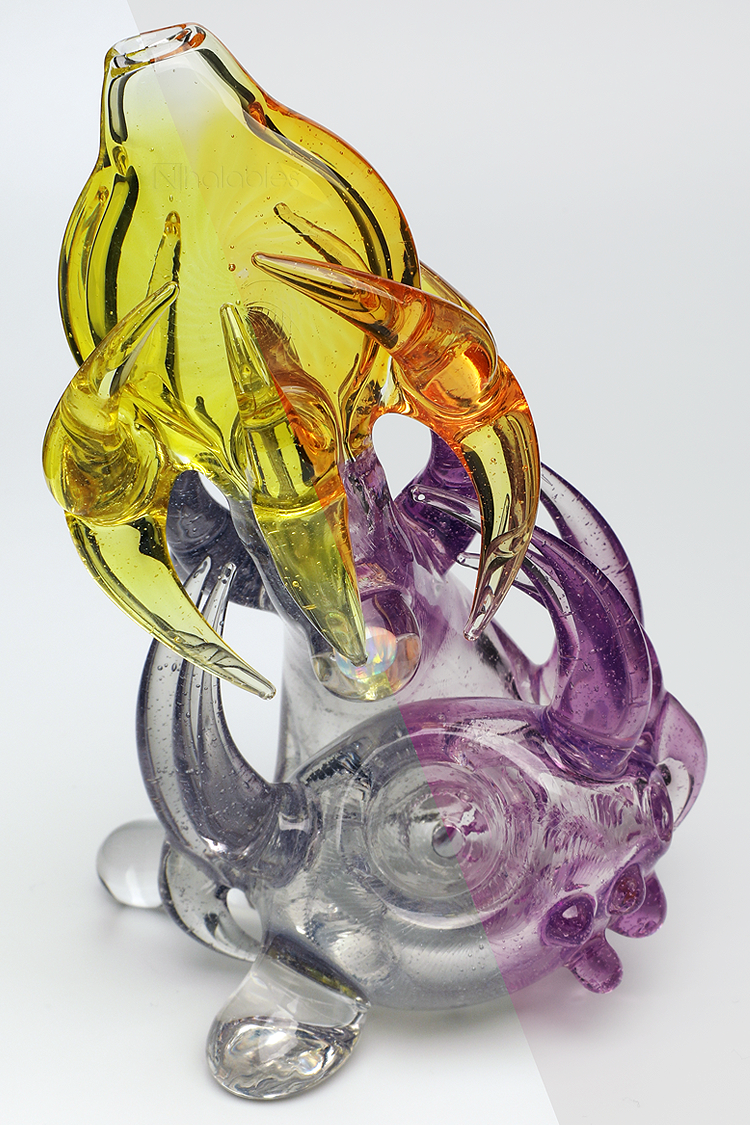 Nhalables CFL Color Shifting side by side  Image for a hand worked Parallax/Terps Neblock Sherlock by Ohio Based Artist Redbone Glass (Josh Anderson)