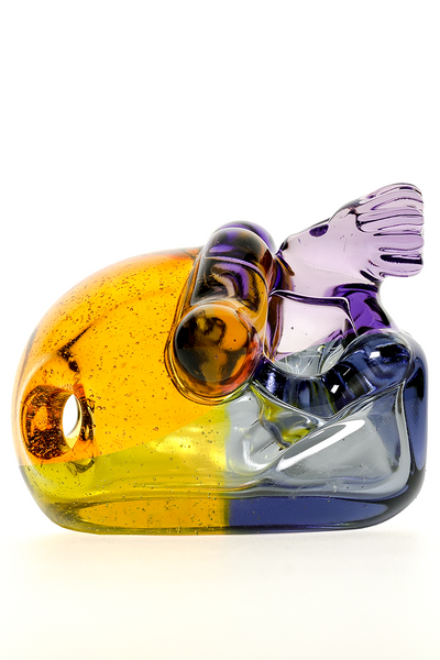 "Nhalables Left Sideview Image for a ""Tuskum Glass"" Skull Pendant *CFL Potion / Terps"