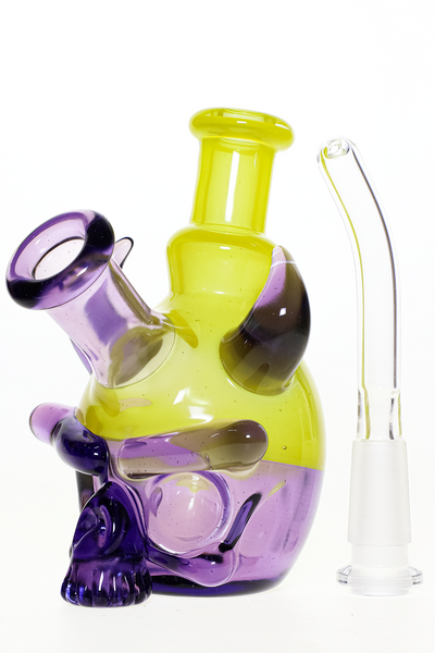 "Nhalables Actual Sideview with downstem Image for a ""Tuskum Glass. Cleveland Ohio"" Pastel Potion / Ghost Chartreuse colored 10mm Skull Rig"