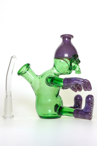 "Nhalables Removable Down stem Image for a ""Wild Berry and Reformulated Kryptonite"" Colored ""Worker"" Rig by Cleveland based Glassblower ""Tuskum Glass"""