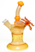 Nhalables Left Side View Image for a Orange Mars Glass (@marsglassworks) Solo Spinner Kinetic Flower Rig