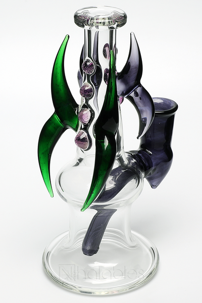 Nhalables Right Side View Image for Purple and Green Dragon Slayer Oil Rig by Ohio based glassblower and artist Redbone Glass