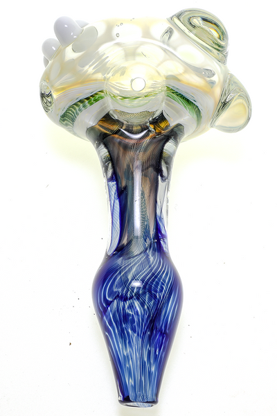 Nhalables Actual View Image for a Blue Honeycomb Hand Pipe by Ohio Based Redbone Glass (Josh Anderson, Old Country Blew)