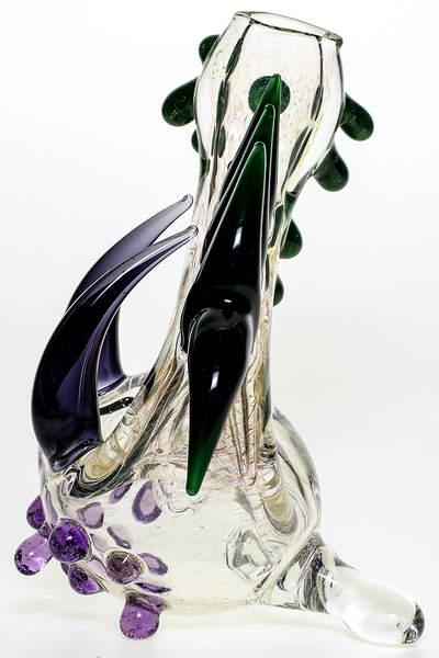 Nhalables Backside View Image for a Green and Purple Frit Neblock by Ohio Based Redbone Glass (@redboneglass) Josh Anderson