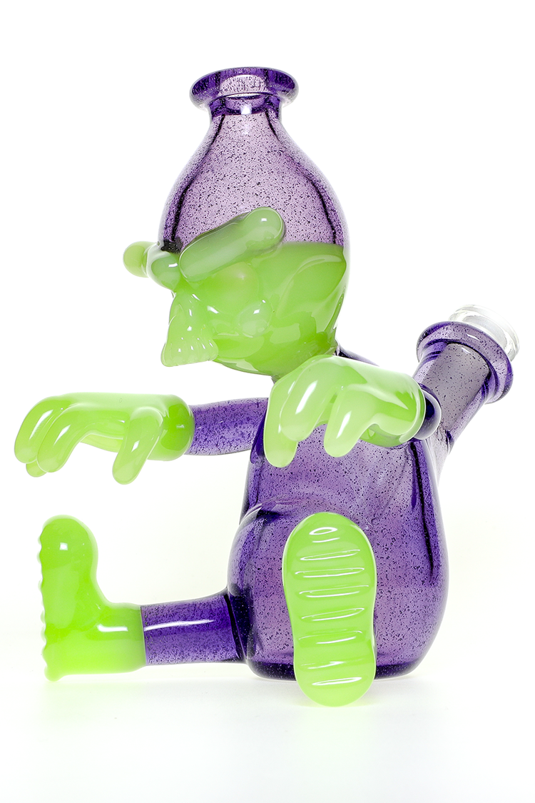"Nhalables Left Side Image for a Antidote and Elixir Colored ""Worker Rig"" by Cleveland based Tuskum Glass"