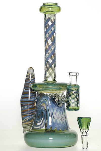 Nhalables Sideview Image for a Green Worked Rig by Virginia Based Artists Licit Glass (@licit) and Savage Glass (@Savageglass)