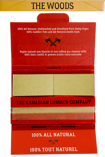 Nhalables actual open pack view image for a Canadian Lumber The Woods 100% All natural wood pulp rolling paper