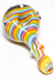 Nhalables Actual side view image for a Abstract Cap Light Rainbow Hand Pipe by JEM GLASS (Jamie, Ozarks Missouri)