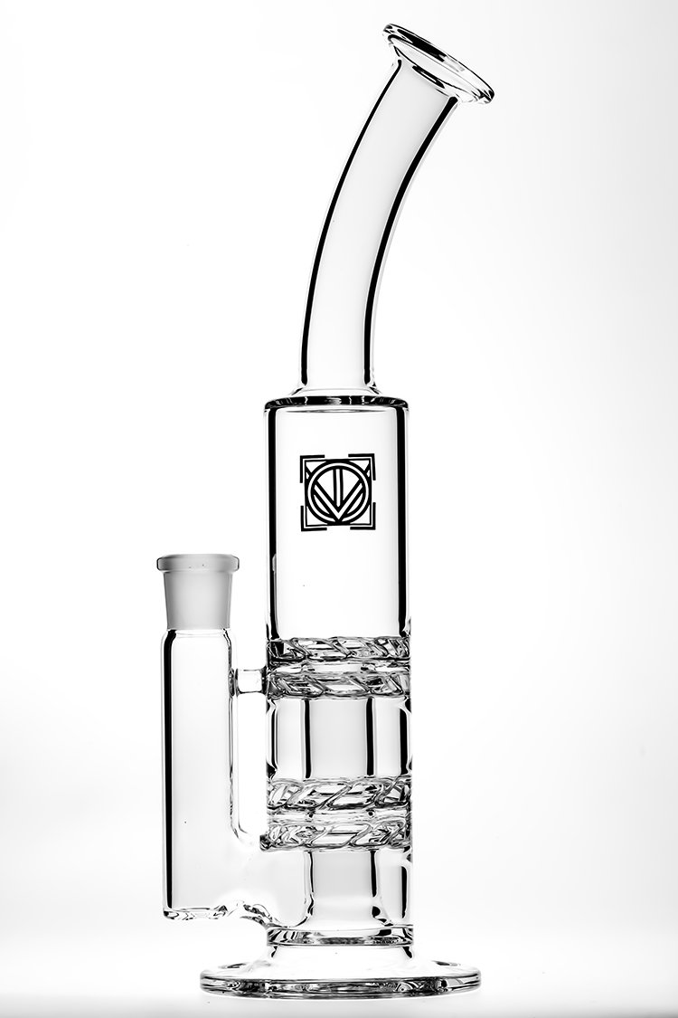 "Nhalables Product Image for a ""Full Size Quad 2-way Nano Turbine"" water pipe by Virginia based ""Licit Glass"""