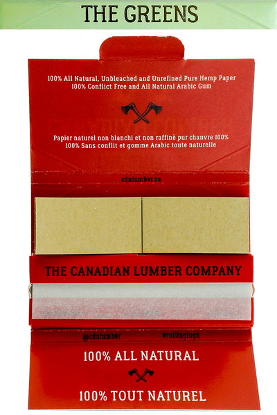 Nhalables actual open pack image for a Canadian Lumber The Greens 100% All natural wood Hemp rolling paper