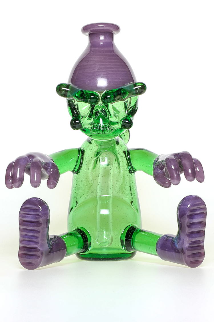"Nhalables Frontside View Image for a ""Wild Berry and Reformulated Kryptonite"" Colored ""Worker"" Rig by Cleveland based Glassblower ""Tuskum Glass"""