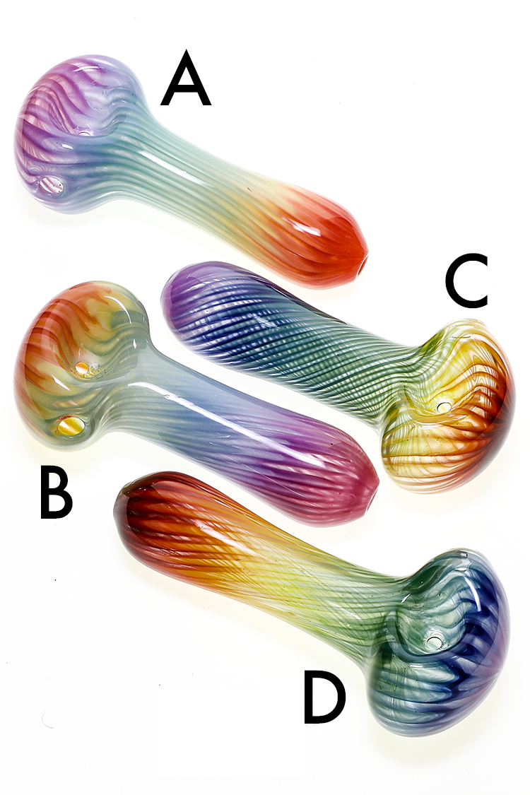 Nhalables Product Image for a White Chocolate Glass Small Colored Rainbow Spoon