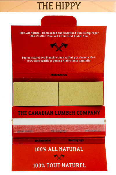 Nhalables actual open pack image for a Canadian Lumber The Hippy 50/50 Flaxseed Hemp Blend Rolling Paper