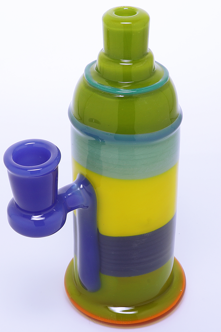 Nhalables Right Side Downstem View Image for a Full Color Encalmo Spray Can Oil Rig by Rone Glass (Oregon)