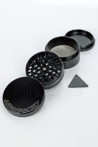 Nhalables Product Image for a Aerospaced - 4 piece Aluminum Grinder showing all 4 pieces in black