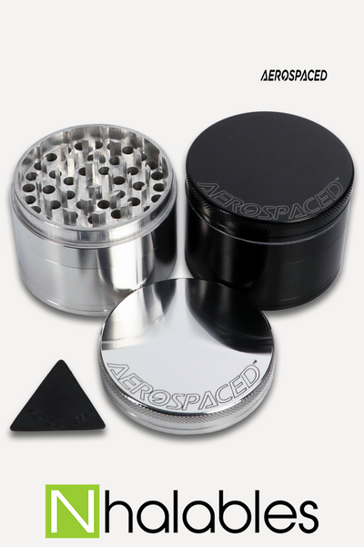 Nhalables Product Image for a Aerospaced - 4 piece Aluminum Grinder showing silver and black versions