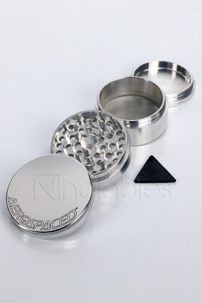 Nhalables Product Image for a Aerospaced - 4 piece Aluminum Grinder showing all 4 pieces in silver variant