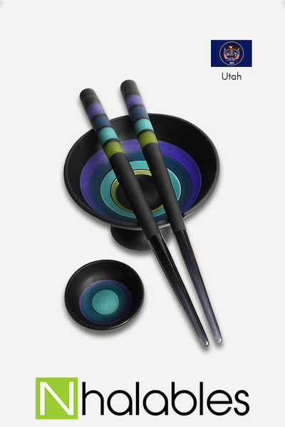 Emily Marie – Chopsticks and Rice Bowl *Black Matte Finish with Color Encalmo