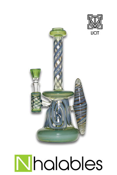 Nhalables Product Image for a Green Worked Rig by Virginia Based Artists Licit Glass (@licit) and Savage Glass (@Savageglass)