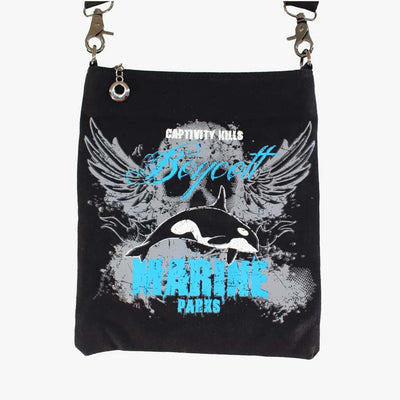 "Canvas Cross Body Bag ""Boycott Marine Parks"""