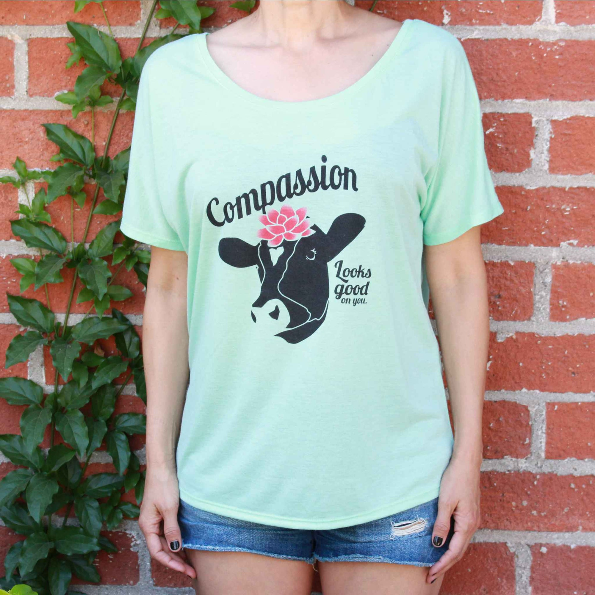 Compassion Looks Good On You - Slouchy Tee Mint