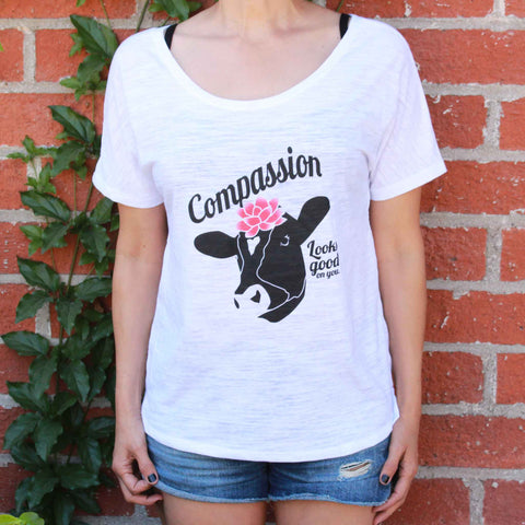 Compassion Looks Good On You - Slouchy Tee White