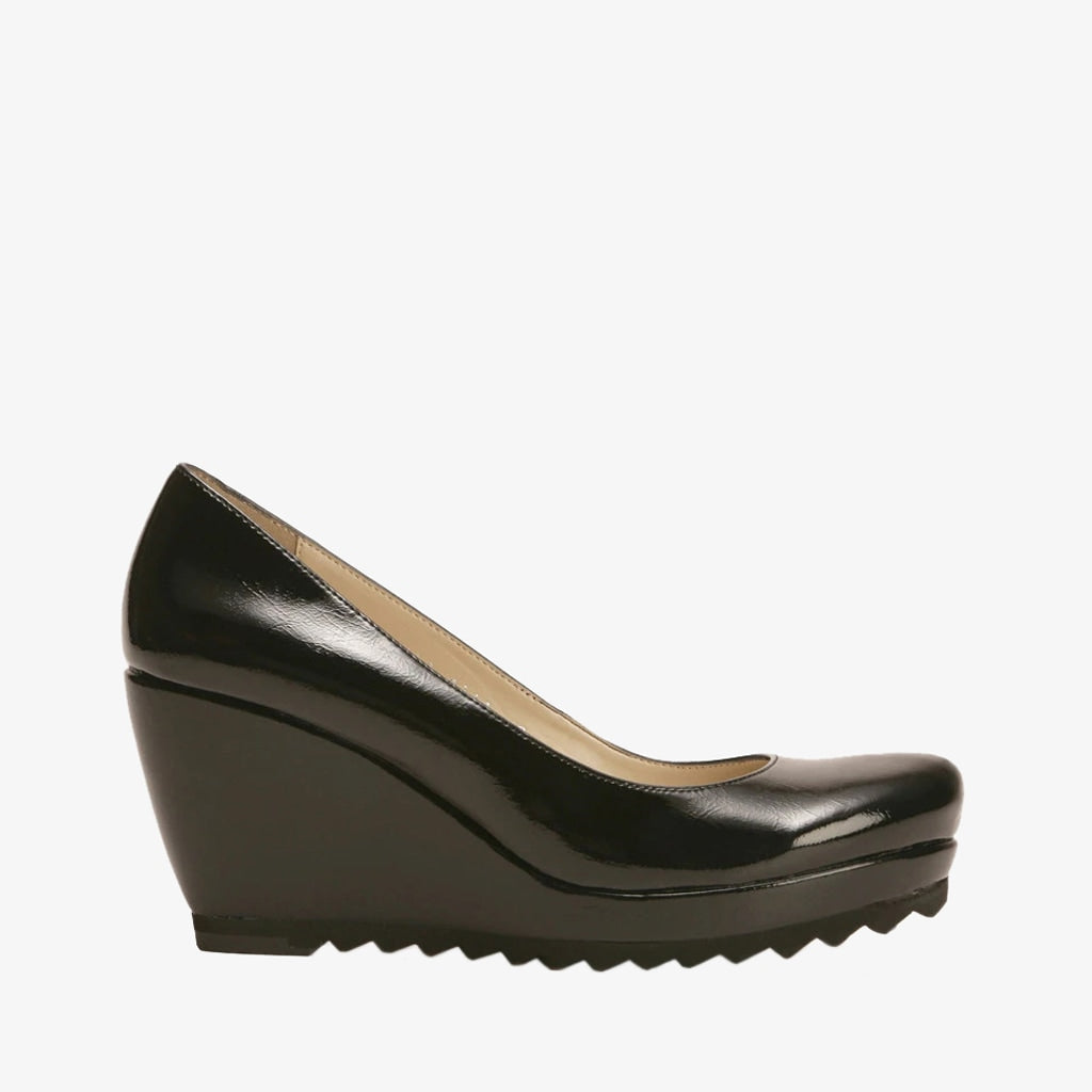Black Patent Wedge Heel