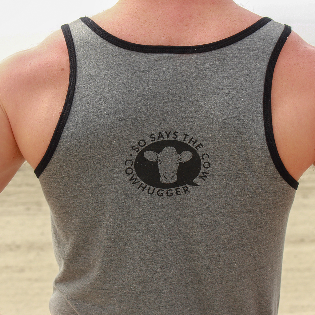 """Save The Animals, Kill The Workout"" Unisex Tank - Deep Heather Grey w/Black piping"