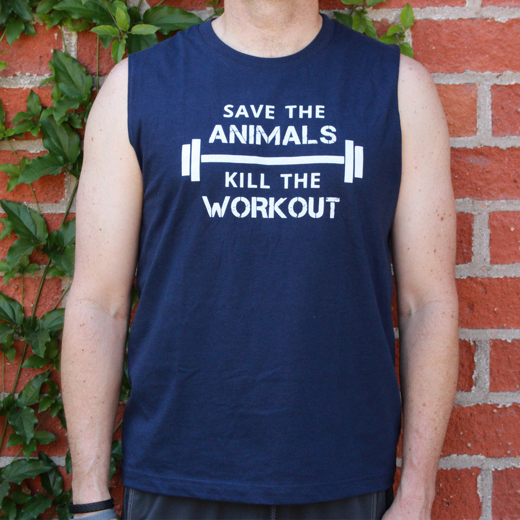"""Save The Animals, Kill The Workout"" Muscle Tank - Navy"
