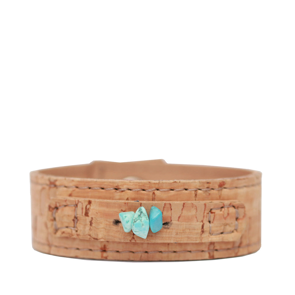 Cork Cuff with stones - Natural