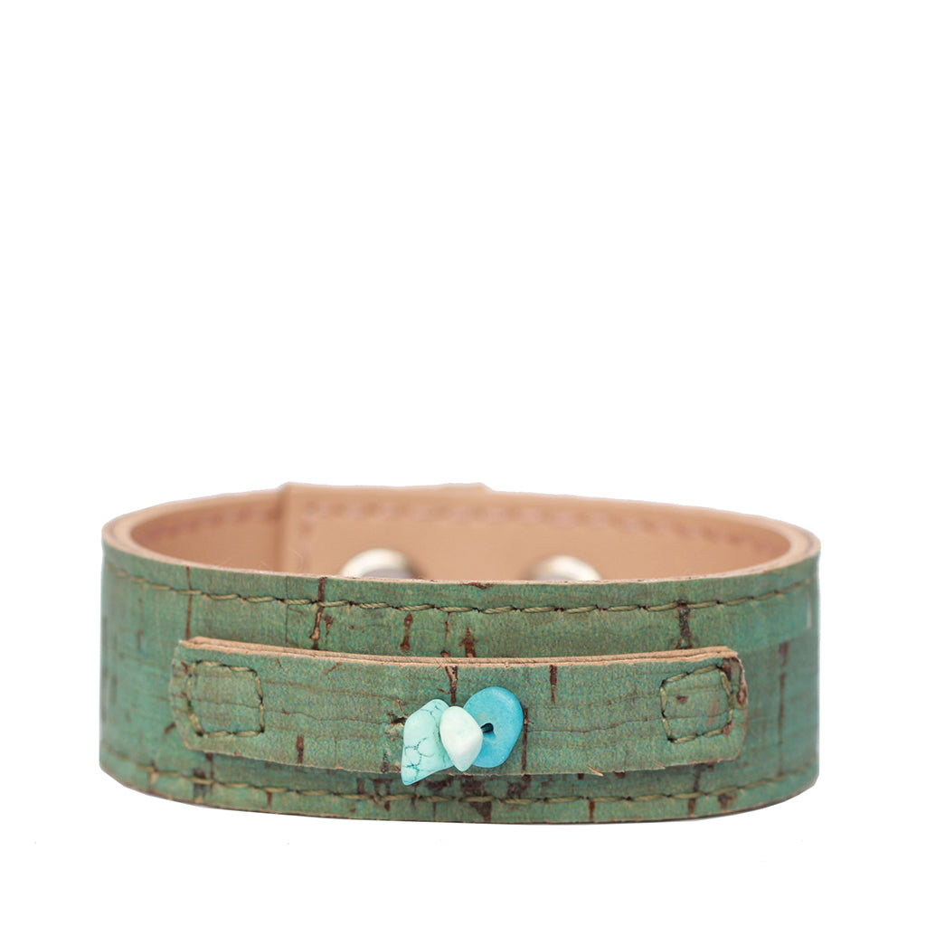 Cork Cuff with stones - Turquoise