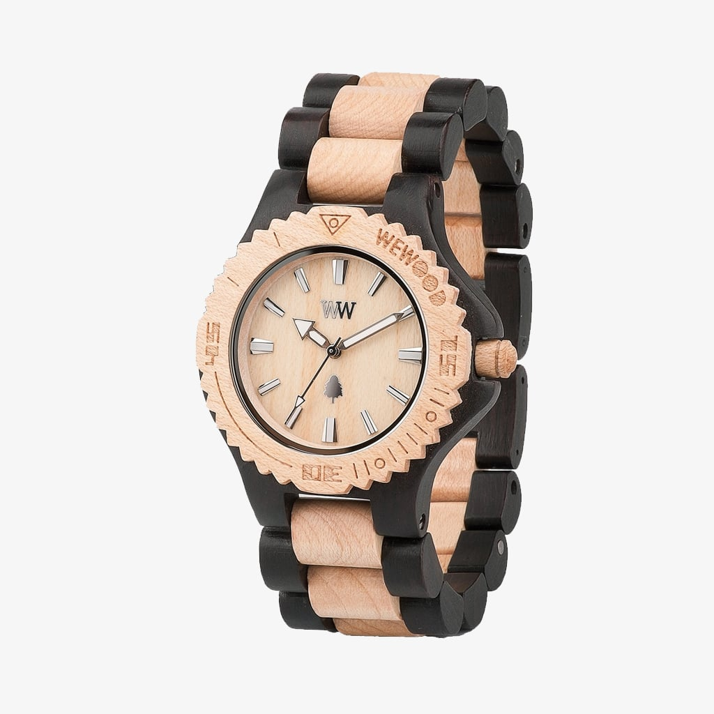 Date Wood Watch - Black/Beige