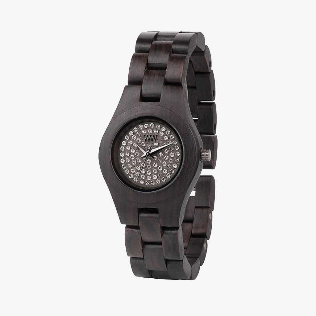 Moon Crystal Wood Watch - Black