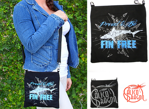 """Proud To Be Fin Free"" Shark Cross Body"