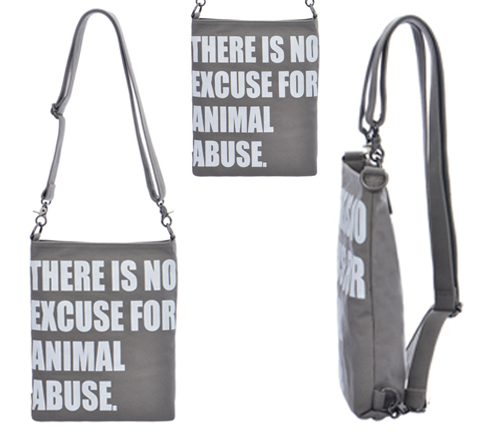 "Canvas Backpack ""No Excuse For Animal Abuse"""