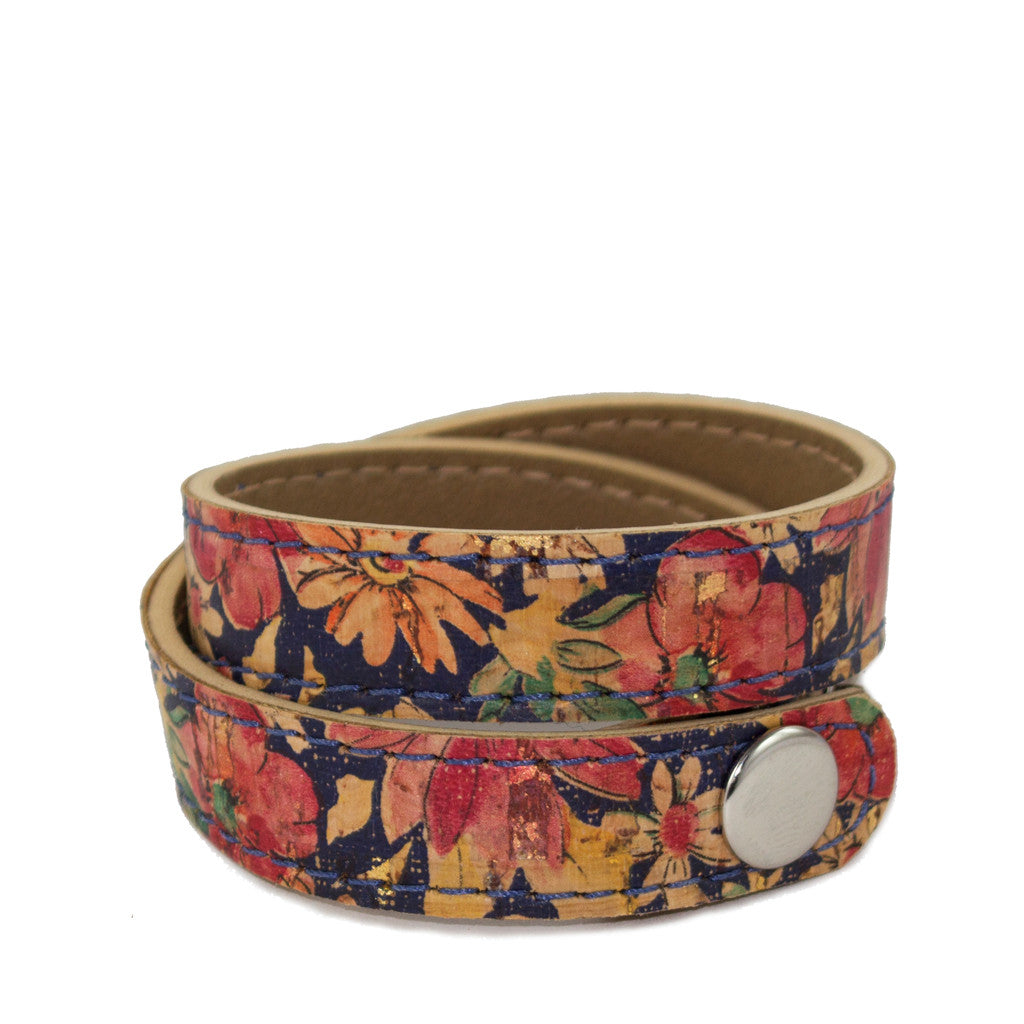 Double wrap cork cuff - Denim
