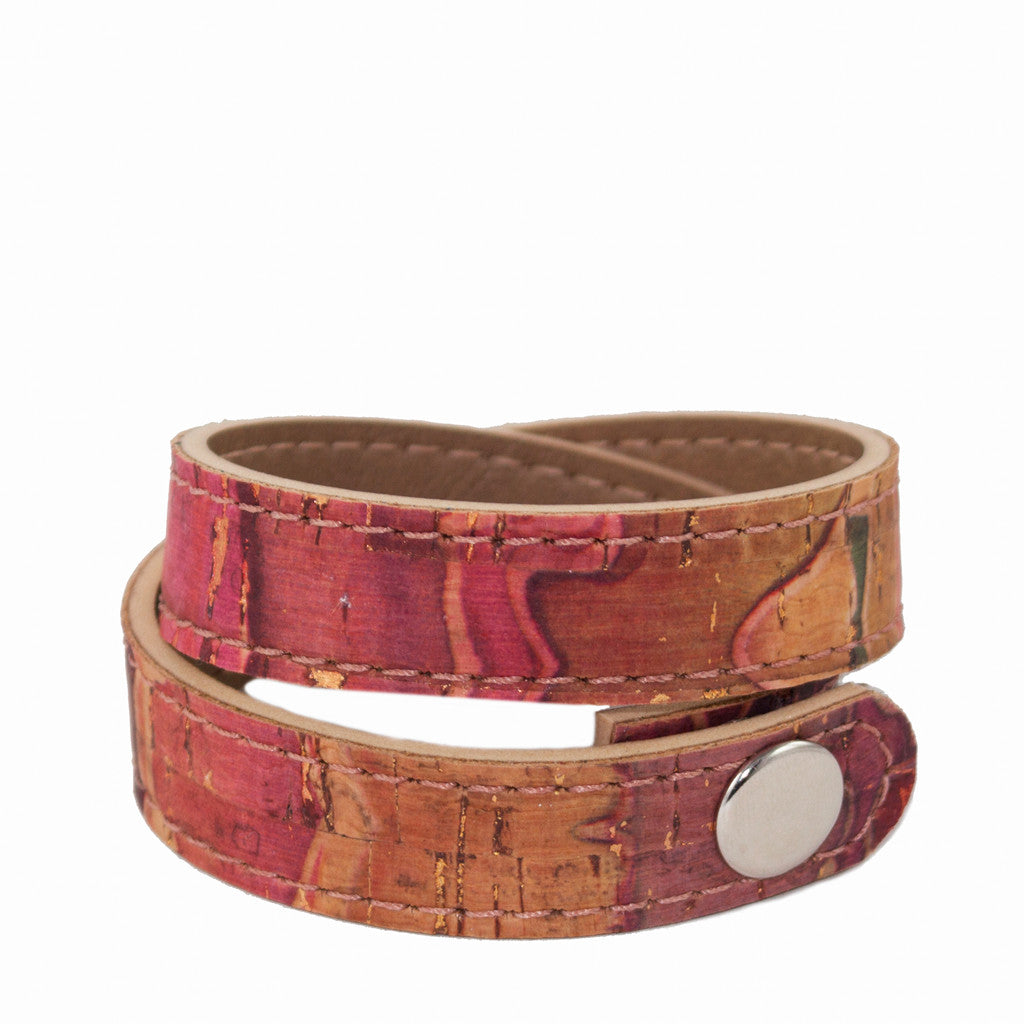 Double wrap cork cuff - Red multi-color